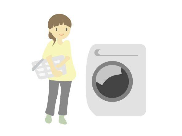 洗濯機と女性のイラスト
